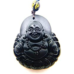 Natural Obsidiana Negra tallada a mano colgante en forma de energía Gem collar de Buda