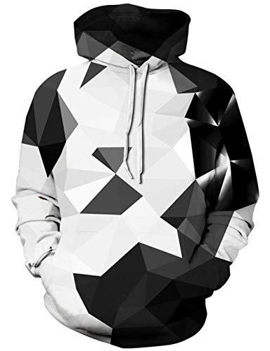 Loveternal Geometric Hoodie 3D Druck Kapuzenpullover Langarm Sweatshirt für Frauen Männer mit Kordelzug S/M