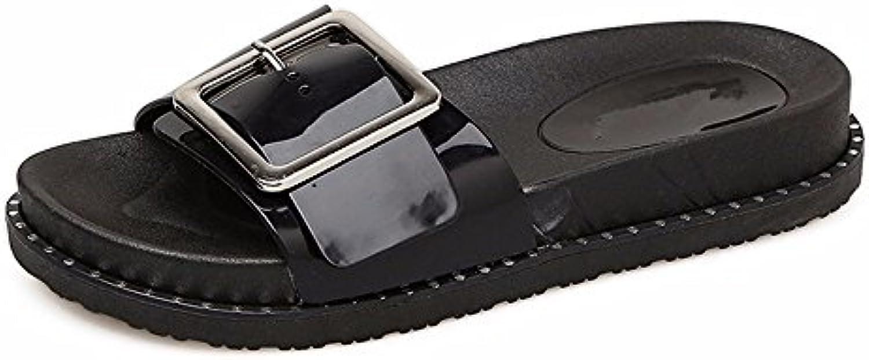 YMR-FY Zapatillas de Verano Elegante Botón Damas Zapatillas Zapatillas de Playa de Desgaste Exterior Estudiantes...