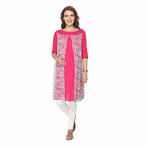 Morph Maternity - Pink Flowy Feeding Kurta - For Pre and Post Pregnancy, Fuses Style & Comfort