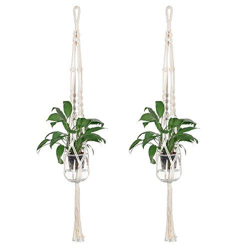DUTISON Pflanzenhänger Indoor Outdoor Blumentopf Pflanze Halter Plant Hanger 2 Pack (Das Leben Ist Schön Cremig)