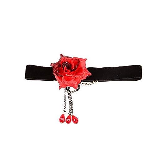 Yazilind Jolie laiton chaŒne Femmes Fleur Rouge Perles de Cristal Noir Pendentif Collier ras du cou