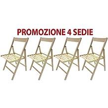 4 sillas plegables, de madera de haya, ergonómica para acampada, casa, jardín