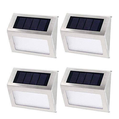4 Stk 3 LEDs Solarleuchte, Solarleuchten Garten,Solar led Außenleuchte, Gartenleuchte, Wandleuchte,Treppenbeleuchtung,für Haus, Zaun, Garten, Garage, Schuppen, Treppe, Garten Deko usw
