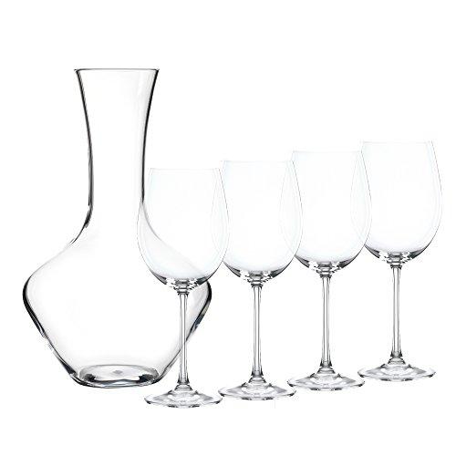 Spiegelau & Nachtmann 5-teiliges Dekantierset, Dekantierkaraffe + 4 Weingläser, Kristallglas,...