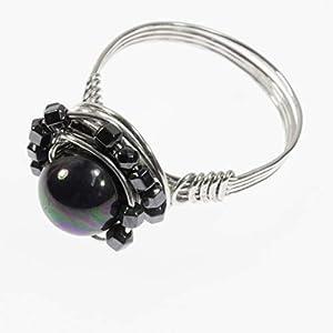 Ausgefallener Silberring mit schwarzer Perle/alle Größen/Design und Handarbeit von Silber&Stein
