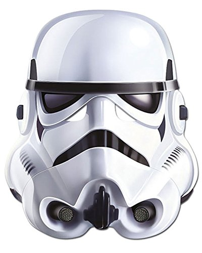 Star Wars - Stormtrooper Papp Maske, aus hochwertigem Glanzkarton mit Augenlöchern, Gummiband - Größe ca. 30x20 (Wars Maske Star)
