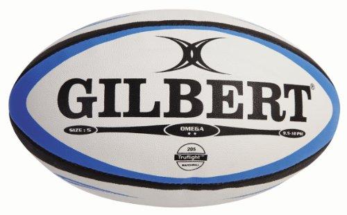 Balón rugby Gilbert Omega, color blanco / azul, talla 5