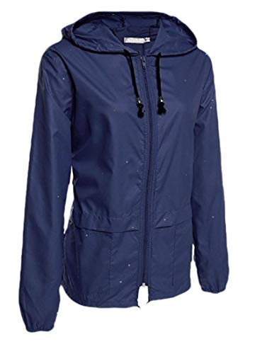 CuteRose Women's Outdoor Zip Up Light Weight Tops Outwear Long-Sleeve Jackets Dark Blue S