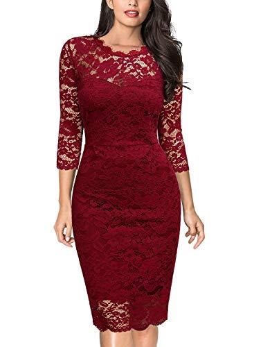 Miusol Vintage Encaje Slim Fit Fiesta Vestido para Mujer Rojo XX-Large