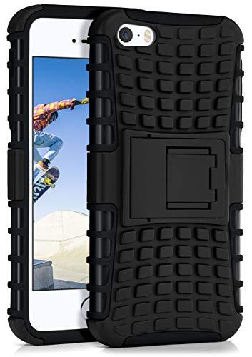 ONEFLOW® Outdoor Back-Cover aus Silikon + Kunststoff [Double-Layer] passend für iPhone 5S / 5 / iPhone SE | Extrem widerstandsfähiger 360° Schutz, Schwarz