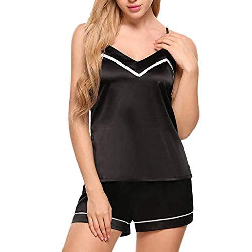 (Damen Schlafanzug Nachthemd Kurz Kunstseide Pyjama/Dorical Frauen Sexy Nachtwäsche Set Sommer Shorty mit Top Spaghettiträger rückenfrei Shirt und Shorts Negligee Set(Schwarz,Medium))