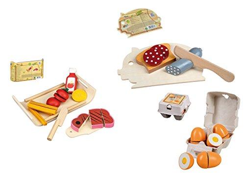 großes Lebensmittel Set aus Holz für Spielküche schneidbar Wurst Eier uvm