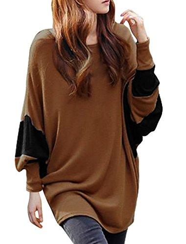 Allegra-K-Women-Scoop-Neck-Color-Block-Batwing-Oversize-Tunic-Top