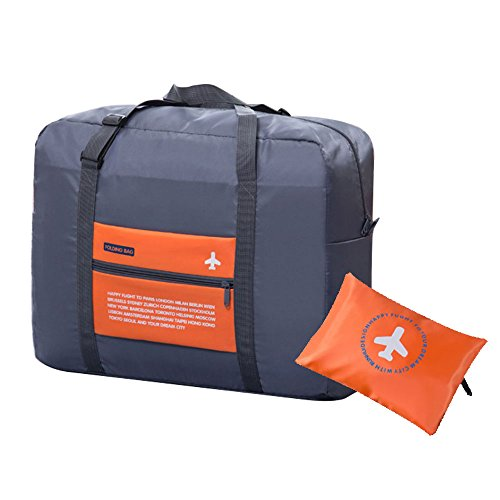 Haehne Waterproof Nylon Foldaway Storage Travel Duffel Bag, for Camping, Sports Gear, Gym-Large Capacity Lightweight Trolley, Tote Bag, Orange