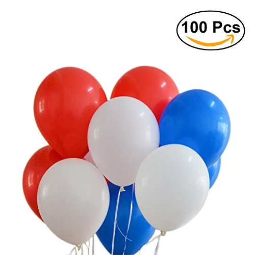 NUOLUX Luftballons,Latexballons,12 Zoll rote weiße blau Luftballons für Partei, 100pcs (Und Blaue Luftballons Weiße)
