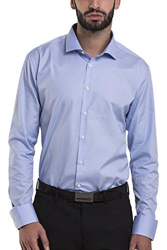 Atelier boldetti - camicia uomo elegante slim fit azzurro cielo, taglia: xxl