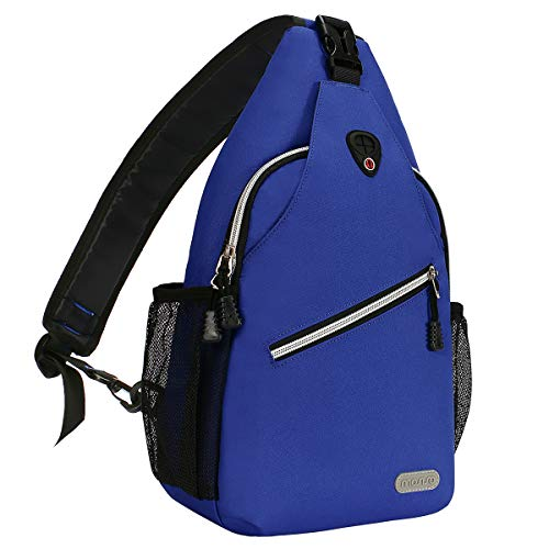 MOSISO Brusttasche Sling Rucksack Schultertasche, Polyester Crossbody Umhängetasche Sporttasche Kompatibel Herren Damen Mädchen Jungen Reise Daypack, Royal Blau
