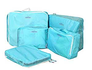 [Official Shop] BXT Travel Essential Bags-in-Bag,Travel Storage Bag Organisers Set Garments Shoes Luggage Packing Cubes of 5 - Blue