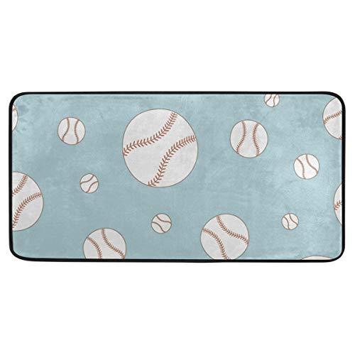 FANTAZIO Fantasazio Fußmatte mit Baseball-Drucken, rutschfest, für drinnen und draußen, 99 x 51 cm - Baseball-bürostuhl