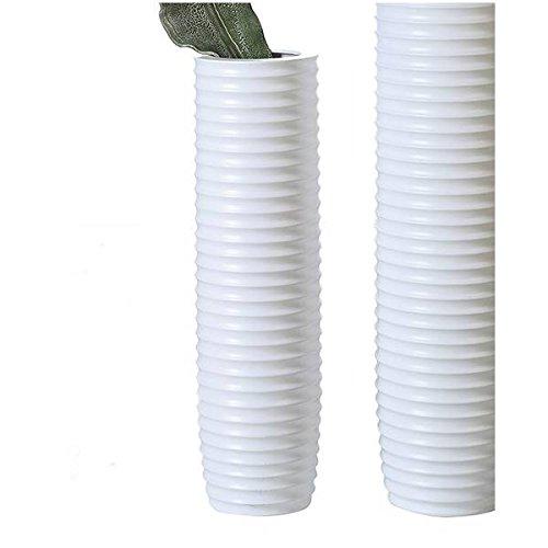 Casablanca - Vase Gentle Keramik weiß matt mit Rillenstruktur