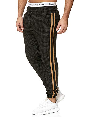 OneRedox Herren | Jogginghose | Trainingshose | Sport Fitness | Gym | Training | Slim Fit | Sweatpants Streifen | Jogging-Hose | Stripe Pants | Modell 1226 Schwarz Gold M