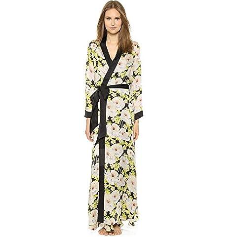 DMMSS Mesdames Long pyjama Long Manche printemps et automne robe peignoir Noble mince chemise soie , 160 (m) , black