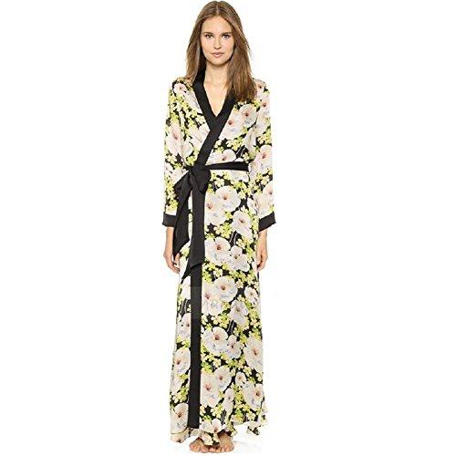 DMMSS Damen Lange Pyjama Long Sleeve Frühling Und Herbst Kleid Edel Bademantel Schlanke Seide Nachthemd , 155 (S) , (Kostüme Baby Türkei)