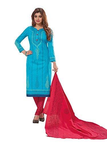 PSHOPEE Maroon & Sky Blue Cotton Printed Salwar Suit Unstitched Dress Material