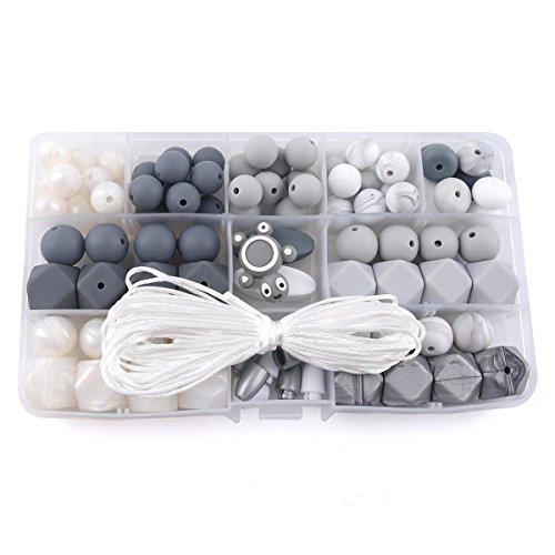 baby tete Collier de Dentition Géométrique en Silicone Perles en Silicone Qualité Alimentair Accessoires Bébé Perles Artisanales Bricolage Fait Main