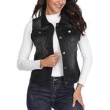 c39ffe5067499c Miss Moly Damen Jeansjacke von Frauen Denim Weste geknöpft Tailcoat Unten  Umlegekragen ärmellose Womens Casual Lässige