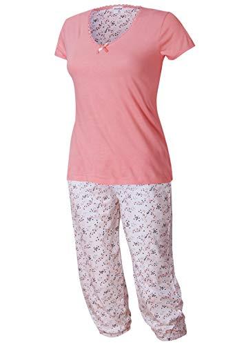 Neu eingetroffen - modischer Damen Schlafanzug Pyjama Shorty mit Caprihose Größe S M L XL Modell Golega Kollektion 2019 (rosa-weiß, 44-46) -