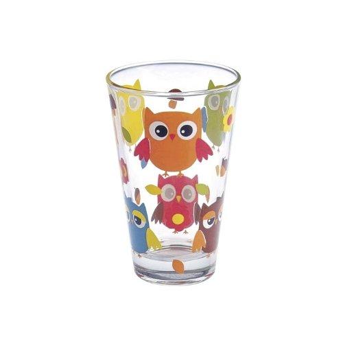 Longdrinkglas, Wasserglas, Trinkglas NADIA mit Motiv Eule, 310 ml, H=12,5 cm, moderner zeitloser Style (GERMAN CRYSTAL powered by CRISTALICA)