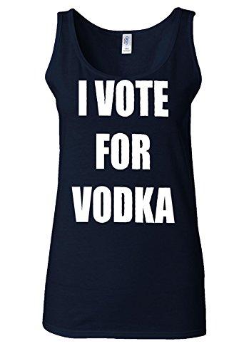I Vote For Vodka Funny Tumblr White Women Vest Tank Top Bleu Foncé