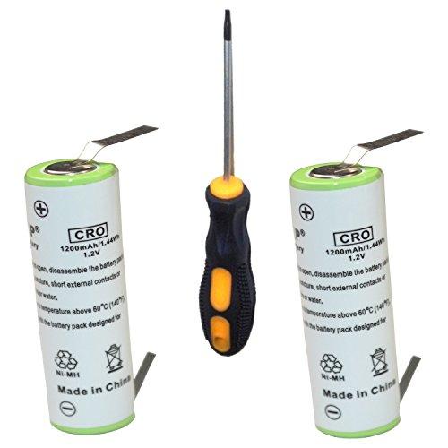 HQRP Deux batteries pour Braun SmartControl Sportive Mod?le 340, 4875, 4876 Type 5742 Rasoir avec tournevis