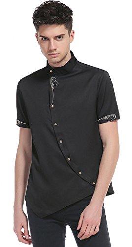Classic Zip Hood (Whatlees Herren Urban Basic Kurz Geschnittenes Hemd mit Asymmetrisches und aufgesticktes Design Stehkragen B508-Black-S)