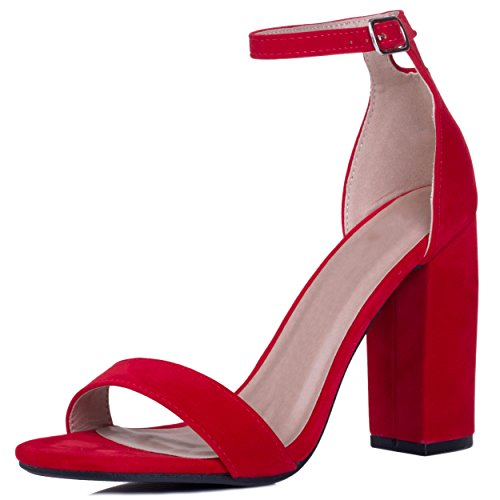 Open Peep Toe Block Heel Sandals Shoes Red Suede Style Sz 5 Heel Open-toe Pump
