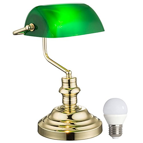 Nostalgie Retro Tisch Lampe Banker Lampe grün im Set inklusive LED-Leuchtmittel