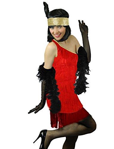 Yummy Bee - Flapper 20er Jahre Charleston Gatsby Kostüm + Feder Boa Karneval Fasching Kostüm Damen Größe 34 - - Mardi Gras Flapper Kostüm
