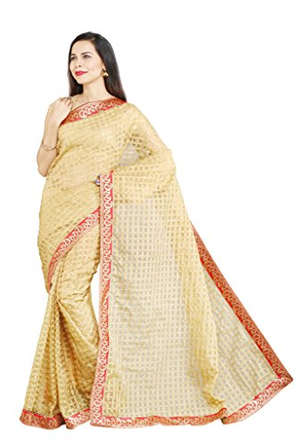 Parchayee Women's Kota Net Saree (Woven Checkered_Beige_Free Size) 94545A