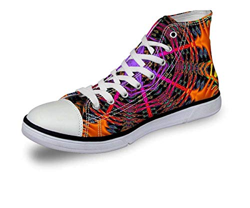 Womens Girls Lace-up High Top Trainers Comfy Ankle Sneakers Casual Canvas Shoes D0784AK cool Print UK 7