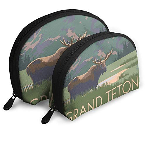 Grand Teton National Park - Moose and Mountains Handy Cosmetic Pouch Clutch Makeup Bag. Western-handy-fall