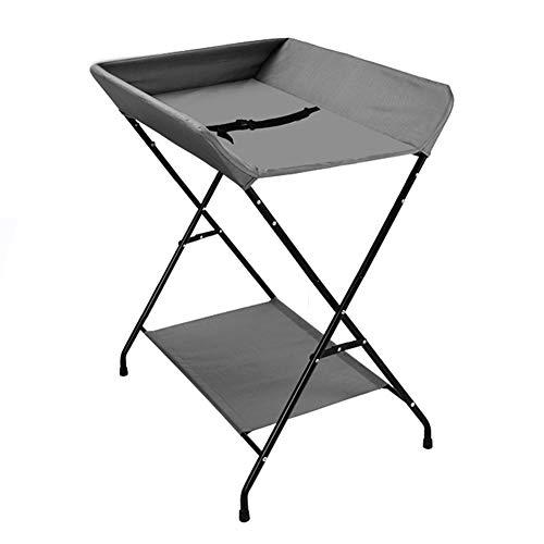 Table à Langer Bébé Grise Pliable, Organisateur De Couches pour Bébé, Commode Nouveau-né Portable - Style De Jambe Croisée