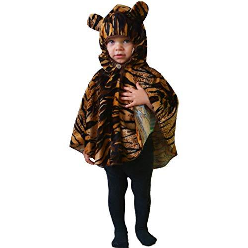 Kinder Kostüm Kapuze - Krause & Sohn Kinderkostüm Tiger Cape Umhang mit Kapuze Tier getigert Fasching Kinder-Kostüm (98)