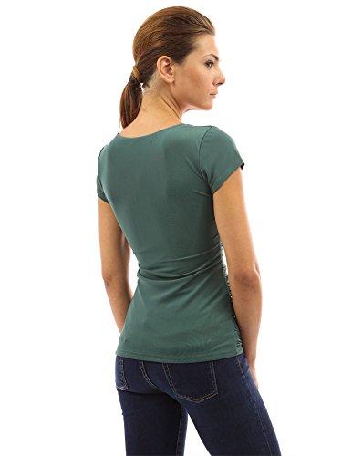 PattyBoutik Damen Bluse V-Ausschnitt mit Rüschen und kurzen Ärmeln Grün