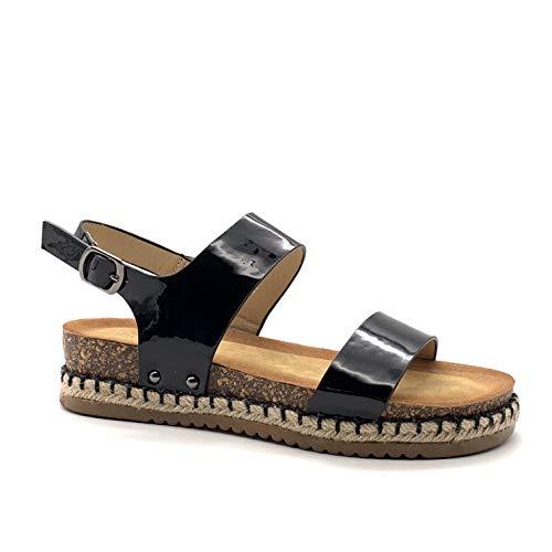Schwarz Lackiert (Angkorly - Damen Schuhe Sandalen - Lässig - Strand - bi-Material - Lackiert - Kork - Seil Flache Ferse 4.5 cm - Schwarz 2 OP89 T 41)