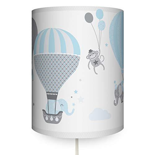 anna wand Wandlampe HOT AIR BALLOONS BLAU/GRAU - Runder Wandlampenschirm mit Stoffkabel zum Aufhängen für Kinder/Baby Lampe mit Heißluftballons - Sanftes Licht im Kinderzimmer Mädchen & Junge