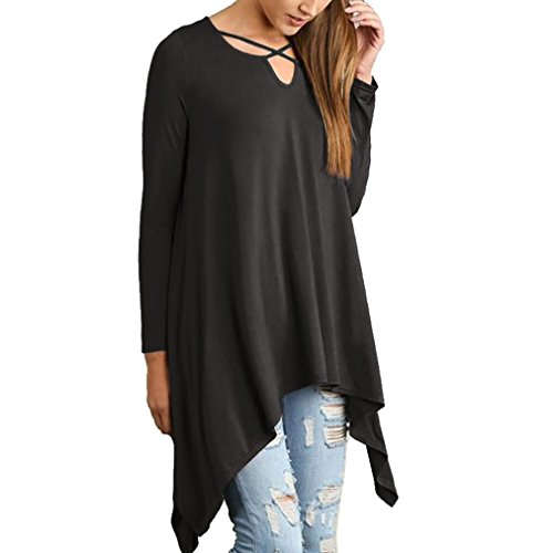 YunYoud Damen Mode Große Größe Hemd Lange Ärmel Tops Einfarbig Bluse Kreuzgürtel Kostüm Irregulär Beiläufig Sweatshirt Lose T-shirt (XL, Schwarz)