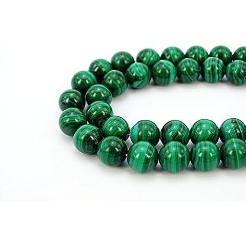 jennysun2010gemma naturale liscia rotondo Loose Beads 4mm, 6mm, 8mm, 10mm, 12mm, 1filo per borsa per braccialetto collana orecchini gioielli artigianato design guarigione, Malachite, 4 mm