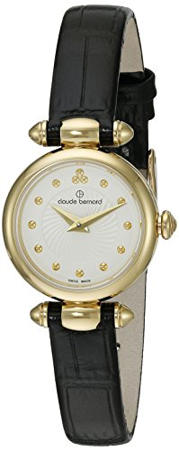 Claude Bernard Women's 'Mini Collection' Quartz Stainless Steel and Leather Dress Watch, Color Black (Model: 20209 37J AID)